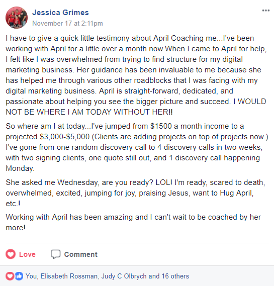 Business coaching testimonial by Jessica Grimes