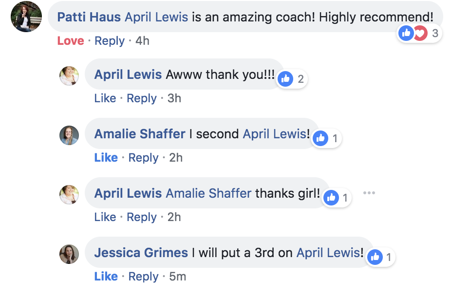 Patti Haus' review of 1-on-1 coaching with April