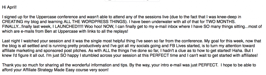Uppercase Conference Affiliate Marketing Feedback