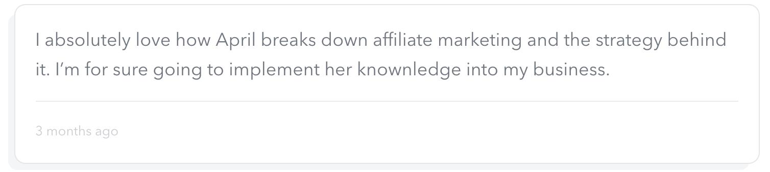 Affiliate Marketing Course Participant Review