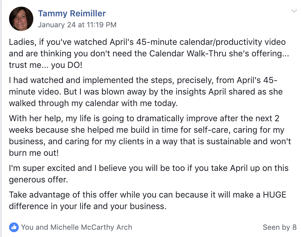 Review for Google calendar productivity by Tammy Reimiller