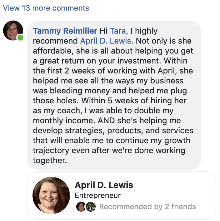 Tammy Reimiller recommends coach April D Lewis