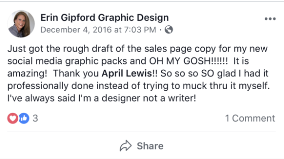 Testimonial from Erin Gipford for sales page copywriting