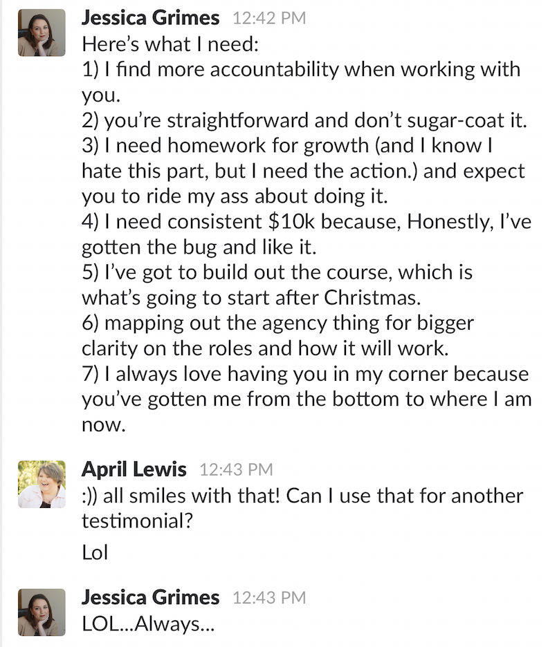 Jessica shares benefits of April D Lewis coaching