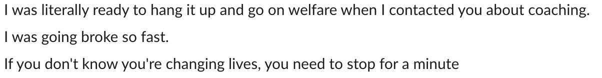 Mastermind client avoids going on welfare